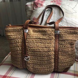 """Brighton """"COOPER"""" crochet straw tote purse"""